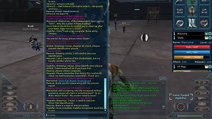 Anarchy Online: The Vicinity Chat Window just prior to an Alien Attack
