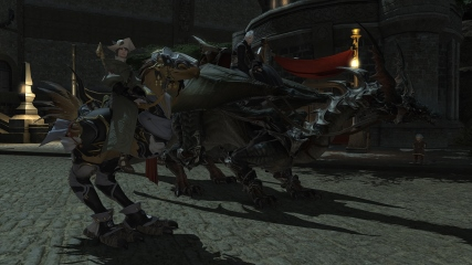 Final Fantasy XIV: M.Steiner and Anubis showing off their mounts