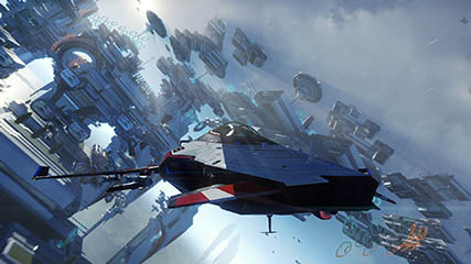 Star Citizen: Flying through Defford Link with the M50