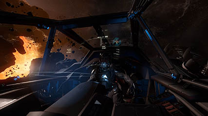 Star Citizen: MS' Hornet cockpit view on Dying Star Free Flight