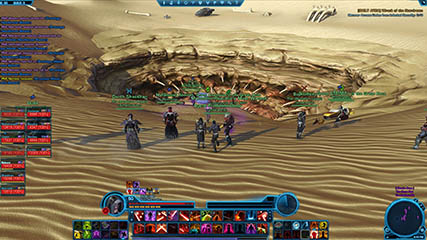 The Old Republic: Syn'n, Eeks & MS gathering at the Sarlacc Pit with an OPs group to summon a world boss [Rakghoul Plague Event]